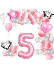 Födelsedagsdekoration flicka 5 år rosa, ballong 5 födelsedag flicka, jättestor folieballong 5 rosa, ballong 5 dekoration till födelsedag, med Happy Birthday girlang folieballonger tårtor toppers för fest dekoration