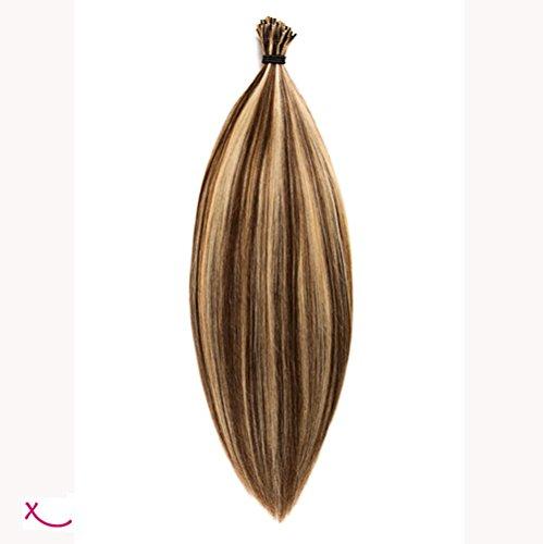 Extiff - Extension cheveux naturel pose à froid/rajouts avec micro anneaux - 20 extensions de 50cm 0.75 gr la mèche - Marque Française (4/613 - Méché platine) - Marque Française Qualité Remy Hair