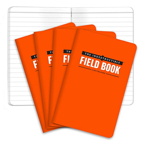 "The Indestructible, Waterproof, Tearproof, Weatherproof Field Notebook - 3.5""x5.5"" - Orange - Lined Memo Book - Pack of 4"
