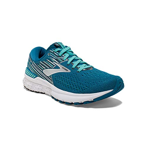 Brooks Womens Adrenaline GTS 19 Running Shoe - Blue/Aqua/Ebony - B - 8.0