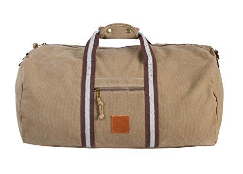Canvas Barrel Bag - Sporttasche, 45 Liter, Duffel Bag Tasche aus 100% Baumwolle mit Echt-Leder Veredelung (Manufaktur13) (Sand)