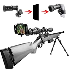 MORE SUITABLE: One-piece wrapped gun scope adapter, the adapter can be securely mounted on the scope to prevent chattering and better protect the phone. UNIQUE DESIGN: Rifle scope smartphone mounting system- smart shoot scope mount adapter for gun sc...