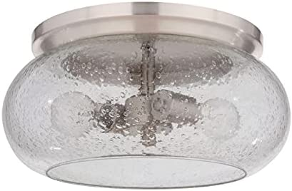 2021 Craftmade online sale 49982-BNK Serene Clear Seeded Glass Flush Mount Ceiling Lighting, 2-Light 120 Watts, Brushed discount Polished Nickel outlet sale
