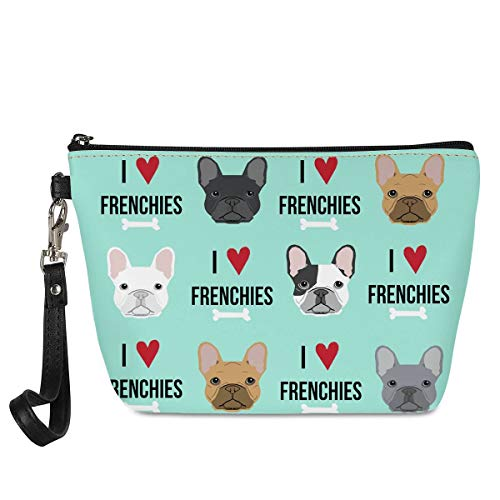 Mumeson Women Girls Trapezoid Cosmetic Make Up Storage Bag French Bulldog Printed Outdoor Shopping Coins Wallet Organizer