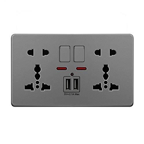 Xuebai Multifunción UK 13A Enchufe de Pared Pulsador 2.1A Puertos de Carga USB Dobles Enchufe de Pared Gris