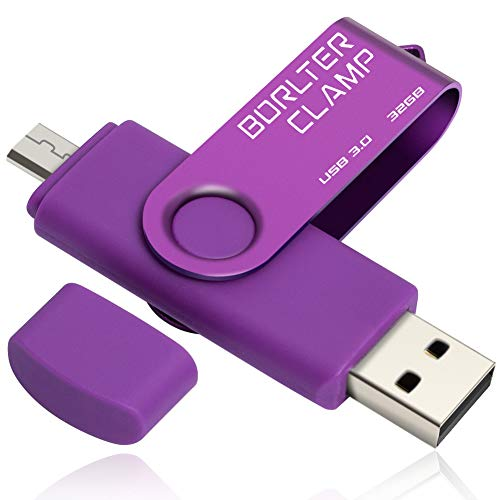 BorlterClamp 32GB Chiavetta USB 3.0, 2 in 1 Pen Drive (Micro USB e USB 3.0) OTG Memoria Flash, USB Flash Drive Girevole per Android Smartphone/Tablet/Computer (Porpora)