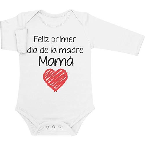 Regalo - Feliz Primer día de la Madre Mamá Body bebé Manga Larga 0-3 Meses Blanco