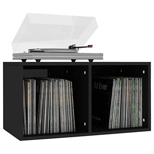 Tidyard Schallplatten Aufbewahrungsbox Ordnerregal Büro Aktenschrank Spanplatte Aufbewahrungsfach Sideboard Arbeitszimmer Wohnzimmer Stauraum mit 2 Fächern 71x34x36cm (Hochglanz-Schwarz)