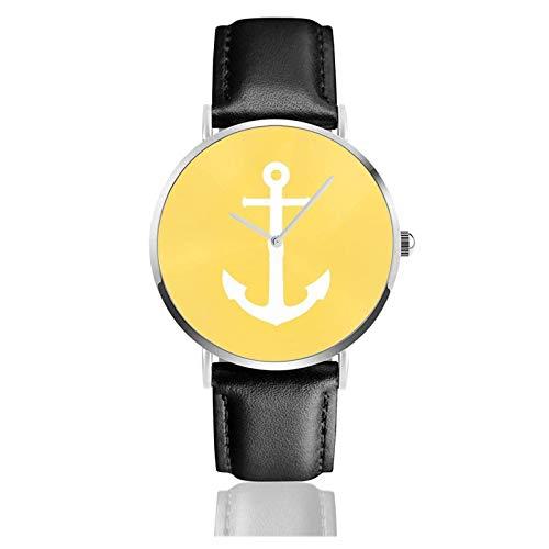 Reloj de Pulsera, Ancla Blanca sobre Correa de Cuero sintético Amarillo Mostaza Relojes Reloj clásico Informal de Cuarzo de Acero Inoxidable