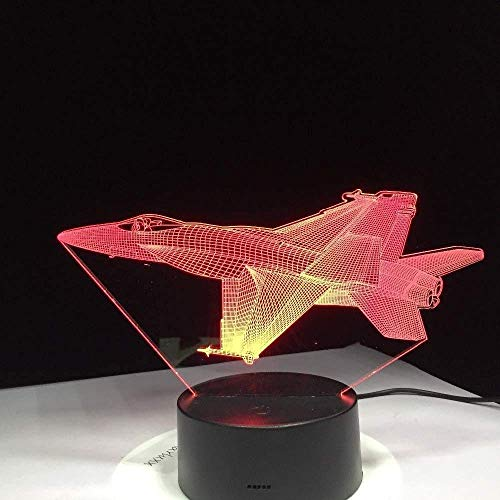 3D Night Light Led Bedside Light USB Lighting Acrylic Illusion Light Combat Fighter Airplane Kit Remote Switch Small Ed T Baby Bedroom TableChristmas Gift Atmosphere
