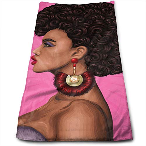 YudoHong Retrato en Color JPEG de una niña Africana con un magnífico Peinado Afro Rizado en Estilo Retro Modelo de Moda en Perfil con aretes de Oro Wit