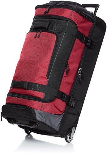 Amazon Basics Ripstop Rolling Travel Luggage Duffle Bag With Wheels - 35 Inch, Red