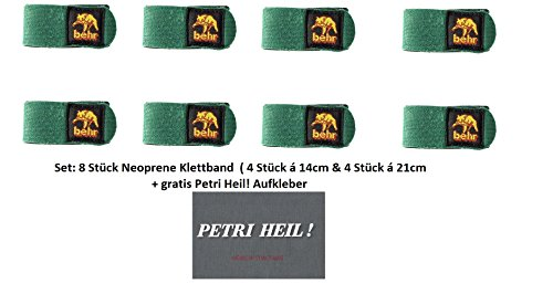 Behr Set: 8 Stück Neopren Rutenbänder Klettbänder 4 Stück 14 cm & 4 Stück 21cm + gratis Petri Heil! Aufkleber
