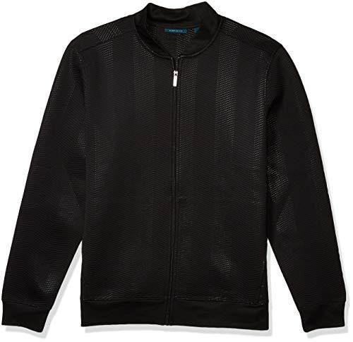 Perry Ellis Men's Big & Tall Chevron Full Zip Knit Lightweight Bomber Jacket, Black, Large Tall