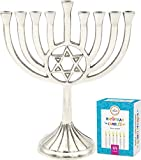 The Dreidel Company Menorah with Traditional Star Polished Aluminum Finish, Full Size 9' - Includes Box of 44...