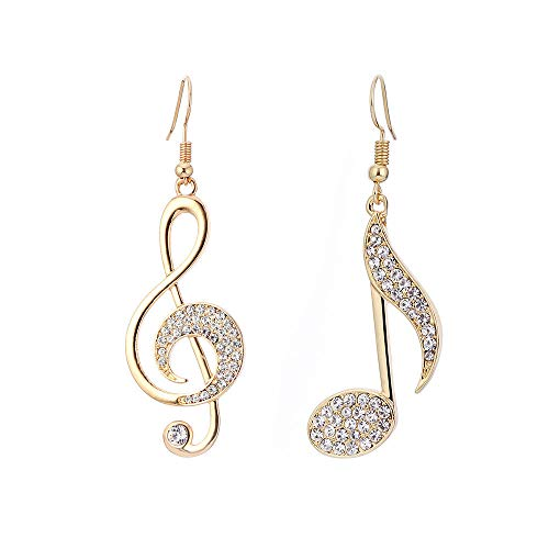 Women's Cubic Zirconia Mismatch Earrings Hanging Earrings Mismatched Pave Music Music Notes Ladies Simple Casual/Sporty Elegant French Bling Bling-Golden