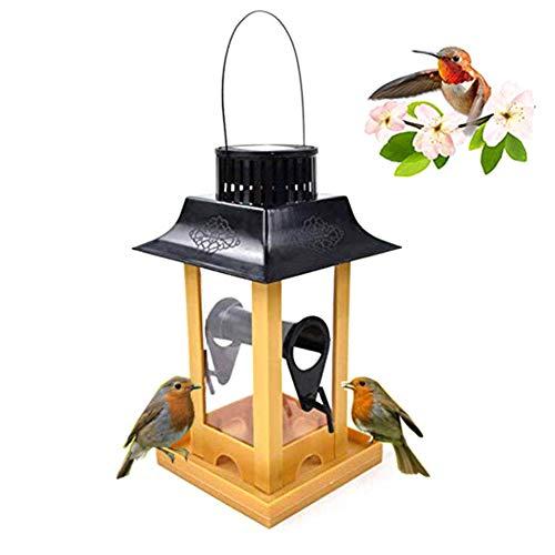 Einsgut Vogelhaus Solar Hangable Bird Feeder Mit LED Leuchten wasserdichte Outdoor Vogel Fütterungsbehälter
