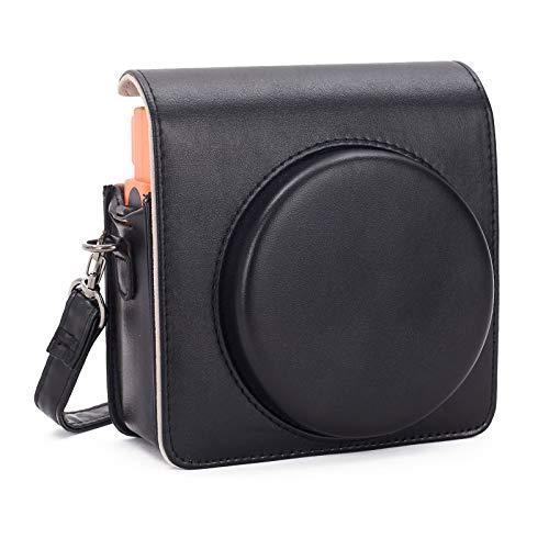 Leebotree Fotocamera istantanea Custodia Protettiva Compatibile con Instax SQUARE SQ 1 Fotocamera Istantanea, in Pelle Soft PU con cinturino a spalla (Nero)