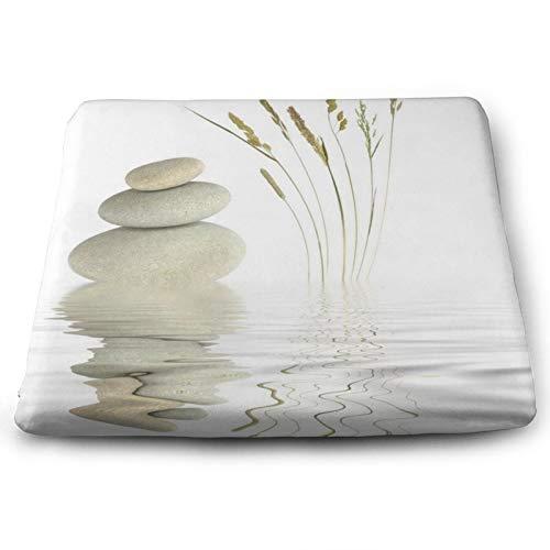 Cojín de asiento cuadrado suave – cómodo cojín de espuma viscoelástica para silla para el hogar/comedor/oficina/sala/habitación/suelos- 38 cm x 34,7 cm – Zen Stone Wild Grass