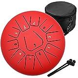 Amkoskr 10 Pulgadas 25cm Tambor de Lengua de Acero con 11 Notas Tonos C Percusión Instrumento Tambor de Mano con Mazos de Tambor/Bolsa de Transporte(Rojo)