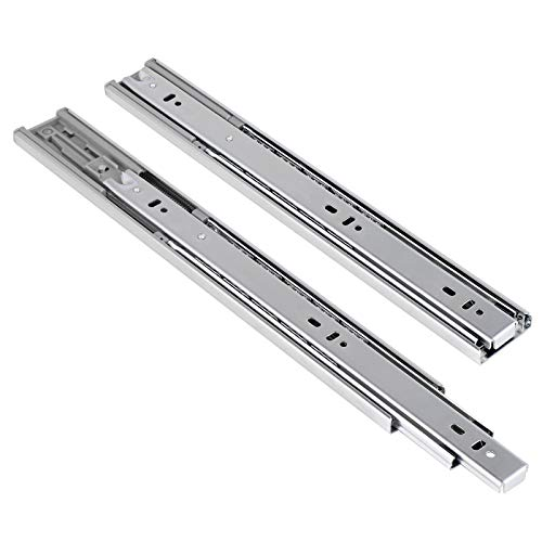16 inch Soft Close Ball Bearing Drawer Slides - 1 Pair of Nickel Finish Side Mount Slides Home Hardware Accessories, Full Extensions 3 Fold
