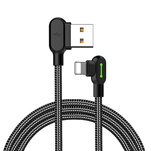 Mcdodo Cable de Datos LED de 90 Grados Lightning a USB Cable de Carga rápida 2 A de aleación de Zinc de Nailon Antiadherente Compatible con iPhone X 8 7 6 Plus iPad iPod (1.8M (5.9 ft ))