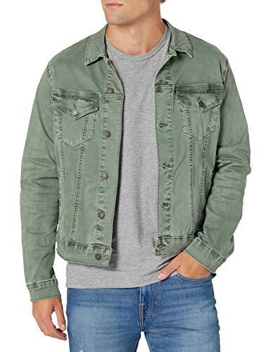 Lucky Brand Men's Button Up Sateen Trucker Jacket, Laurel Ash, XL