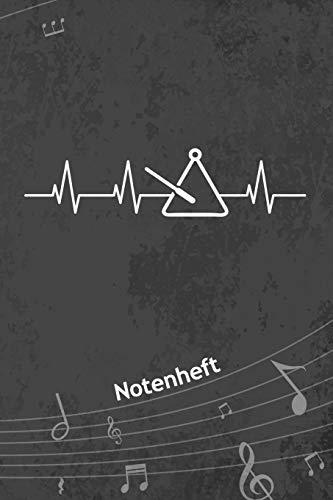 NOTENHEFT: A5 Musik Notenblock für Musiker Komponisten - 120 Seiten Notenlinien Blanko Notenpapier - für Musikinstrumente Instrumente - Triangelspieler für Trianglist - Triangel Herz Matte Cover