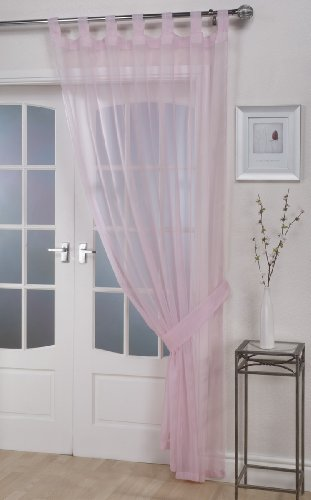 John Aird Woven Voile Tab Top Curtain Panel - Free Tieback Included (Pastel Pink, 60' Wide x 90' Drop)