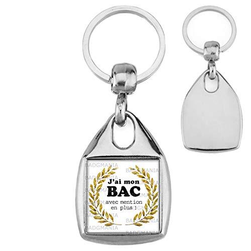 Badgmania Porte Clés Carré Acier JAi Mon BAC avec Mention en Plus ! Palmes Or Fond Blanc - Diplôme Etude