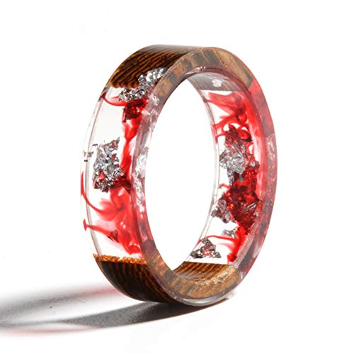 NDJEWELRY Unique Handmade Wood Resin Ring with Silver Foil Insided Coral Red Crystal Band Ring Best Gift for Her Size 10