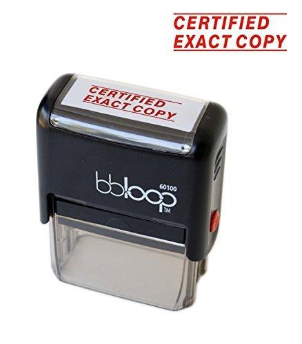 """BBloop Stamp""""Certified Exact Copy"""" Self-Inking, Rectangular. Laser Engraved. RED"""