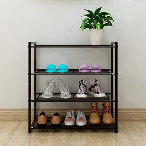 DUMEE Estantería para zapatos y zapateros, 4 niveles, color negro