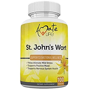 St Johns Wort Stress Anxiety Relief Mood Support Supplement Serotonin Boost Mental Focus and Mood Stabilizer for Women & Men-100 Capsules by Amate Life