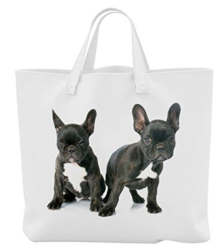 Merchandise for Fans boodschappentas - 45 x 42 cm x 9,5 cm, 18 liter - Motief: Franse buldog twee zwarte puppy's - 23