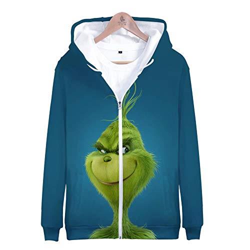 BebéEl GrinchSudadera con CremalleraDisfrazJack Skellington Pullover Hoodie Costume Grinch Inspired Hoodies Christmas Green Hoodies Pullover Pocket Sweatshirt Tops