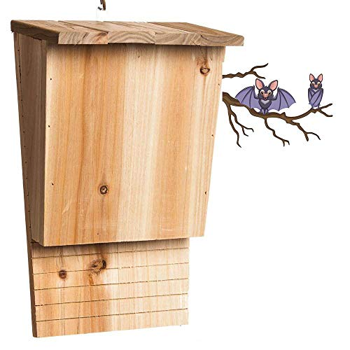 Bels fledermauskasten holzbeton, Schwarz Wetterfest Dreikammer FledermauskäSten Massivholz Fledermaushotel 40cm X 16 cm X 68.5cm (2 Stücke)
