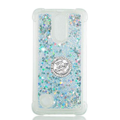 Everainy Funda Compatible para LG K8 2017 Silicona Transparente Brillante con Anillo 3D Glitter Liquido Transparent Case Caucho Bumper Antigolpes Bling Carcasa (Plata)