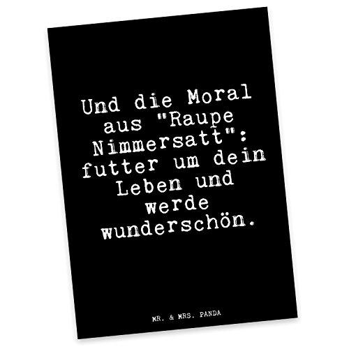 Mr. & Mrs. Panda Postkarte mit Spruch Und die Moral aus Raupe Nimmersatt: Futter um Dein Leben und werde wunderschön.
