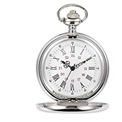 Highly polished double-faced case, smooth. white dial with filigreed hour, minute, and second hands. Add undeniable style and class to your daily life and fashion with a Classic Pocket Watch. White dial, black Roman numerals scale and pointers of cla...