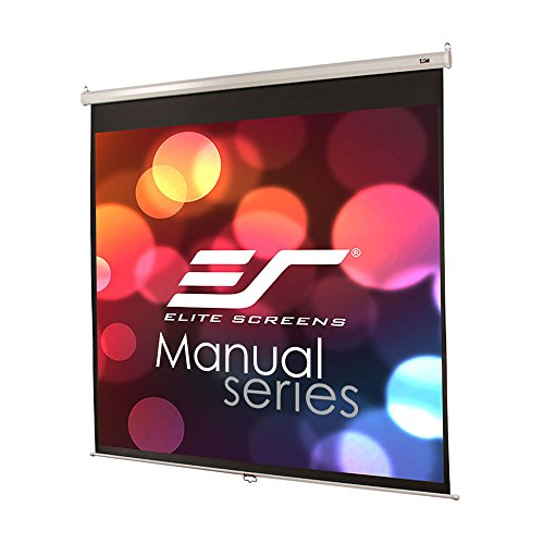 Elite Screens Manual Series, 85-INCH 1:1, Pull Down Manual Projector Screen with AUTO LOCK, Movie Home Theater 8K / 4K Ultra HD 3D Ready, 2-YEAR WARRANTY, M85XWS1, 1:1, white