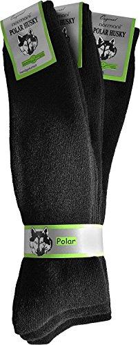 Polar Husky® 3 Paar Thermo-Vollplüsch-Socken mit angerauter Innenfläche Farbe Kniestrümpfe Schwarz Größe 39/42