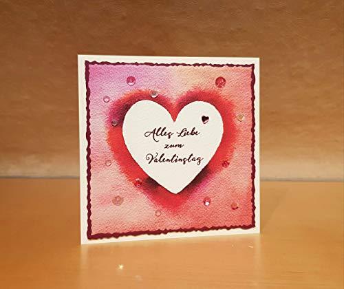 Glückwunschkarte, personalisierbare Karte zum Hochzeitstag, Valentinstag, Hochzeitstagskarte, Aquarell Herz, personalisiert, Wunschtext, eigener Text, handgemacht, Handarbeit