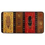 Tribal African Masks Ethnic Ornament Kitchen Floor Mat Bath Runner Rug Non Slip Area Mat Rug Absorbent Comfort Standing Mat Carpet for Indoor Outdoor Doormat 39 x 20 Inch