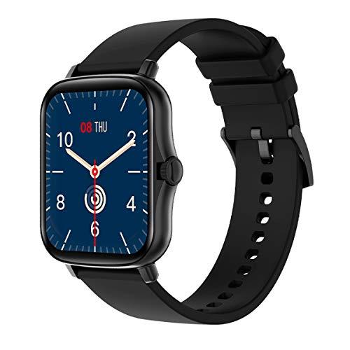 BINDEN Smartwatch P8 Plus Reloj Inteligente, Botón Multifunción, Notificaciones, Pantalla Touch, Multicarátulas, Monitor de Salud y Deportivo, iOS y Android, Silicón Color Negro
