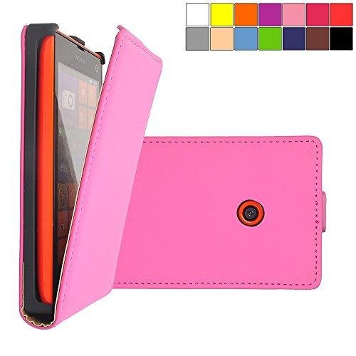 COOVY Custodia per Nokia Lumia 520/521 / 525 Slim Flip Cover Case della Copertura di Vibrazione Protezione, Pellicola Protettiva per Schermo | Colore Rosa Caldo