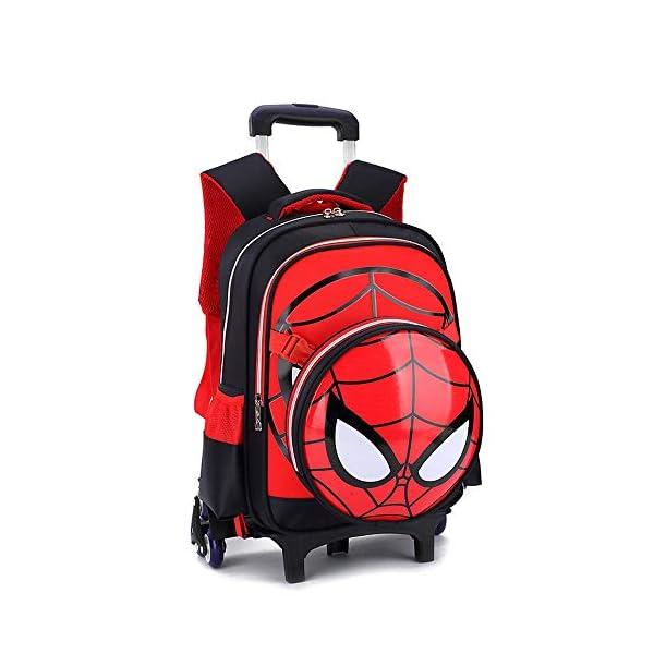 41CY9qW w4L. SS600  - WQLESO Spiderman Mochila con Ruedas Impresa Mochila Escolar para niños Mochila Primaria con Ruedas para niños de 6 a 12 años de Edad