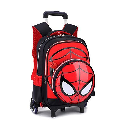 WQLESO Spiderman Mochila con Ruedas Impresa Mochila Escolar para niños Mochila Primaria con Ruedas para niños de 6 a 12 años de Edad