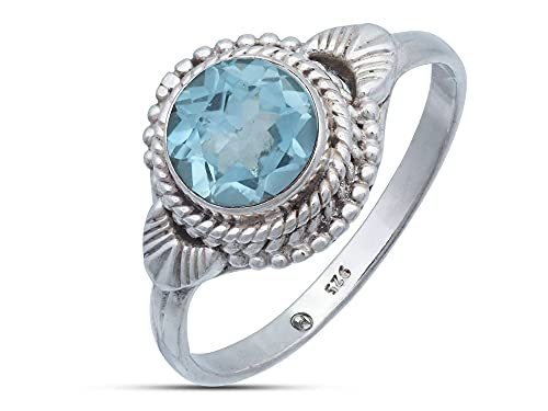 Anillo de plata de ley 925 azul topacio (No: MRI 153), Ringgröße:48 mm/Ø 15.3 mm