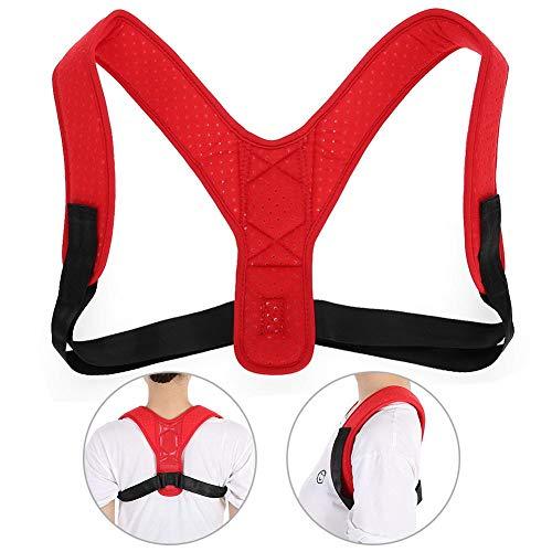 Corrector de Postura para Espalda, Correa ajustable, Material transpirable para mujeres y hombres que alivia el estrés y corrige la postura(Rojo)